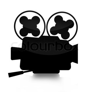 Movie camera silhouette isolated over white background