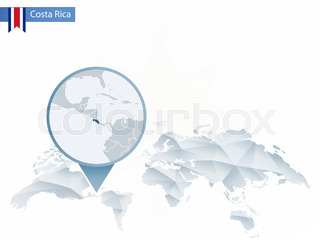 World map with magnifying on costa rica blue earth globe with costa abstract rounded world map with pinned detailed costa rica map gumiabroncs Image collections