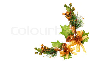 Holiday frame border with Christmas tree branch ornamentas winter decoration isolated on white background