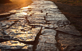 Ancient pavement on the road in Rovinj, Croatia