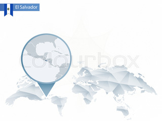 Zoom on El Salvador Map and Flag World Map Stock Vector