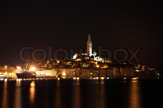 The old town of Rovinj at night, Croatia