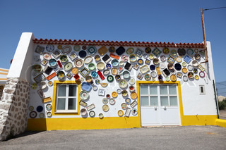 Pottery with colorful ceramics for sale in Portugal