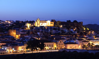 Town Silves with castle at dusk, Algarve Portugal