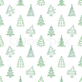 Christmas trees, winter holiday symbols, seamless background Vector