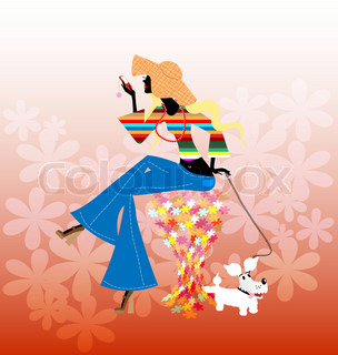 on an abstract floral background is stylish blonde girl with small dog