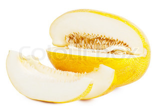 Sliced melon with many seeds over white background