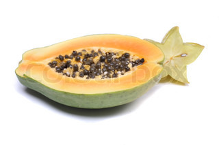 fresh exotic fruit papaya on the white background