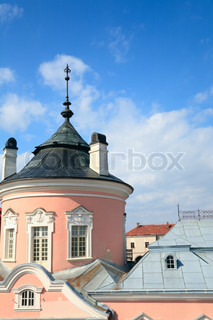 Spring view of old Zolochiv castle Ukraine, Lviv Region, Dutch style, built in 1634-36 by Jakub Sobieski