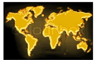 golden map on the black generated by the computer
