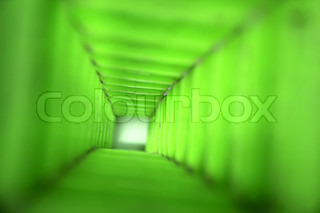asbtract green background very long green tunnel