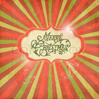 Vintage Christmas template, colored sun burst background
