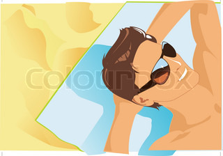 sun bathing vector