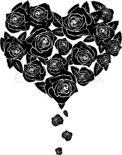 Black roses Shape of heart