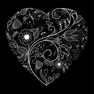 Black and White Valentine Heart illustration