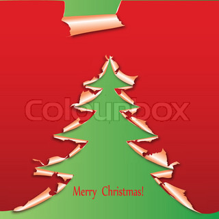Creative christmas tree, paper hole torn winter background Vector card illustration