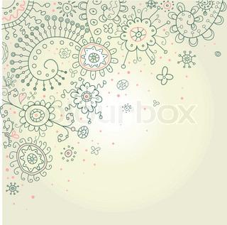 Håndtegnede Abstract Henna Doodles og blomster Vector Illustration