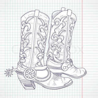 Hand Drawn Sketch Of A Cowboy Boots Vector Colourbox