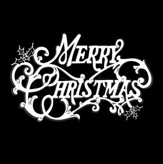 Black and White Christmas Card Merry Christmas lettering