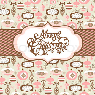 Seamless background with pink, broun and white christmas baubles and a banner