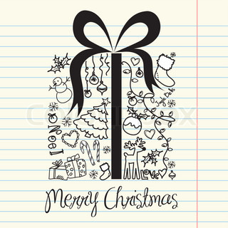 Christmas present box made from christmas doodles