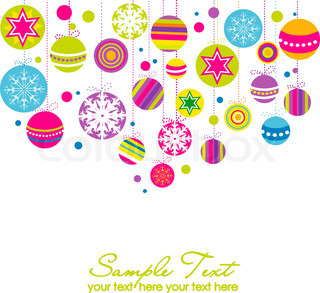 Colorful card with christmas balls, vector illustration
