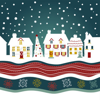 Christmas card, cute town at christmas time