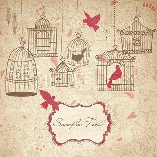 Vintage bird cages Birds out of their cages concept vector
