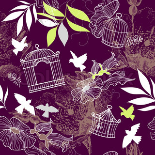 Birds and bird cages Seamless pattern