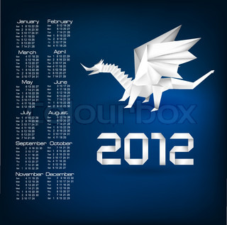 2012 year calendar with origami dragon. Vector.