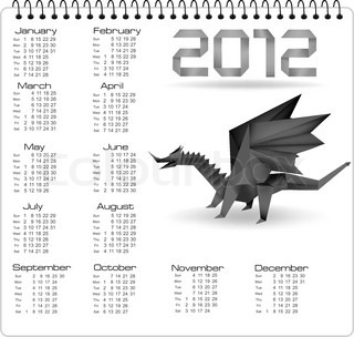 2012 year calendar with black origami dragon. Vector.