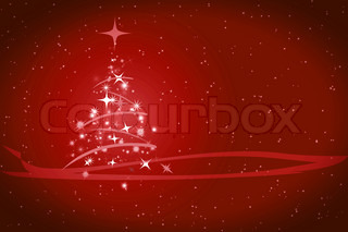 Abstract winter red background, with stars, snowflakes and Christmas tree, illustration