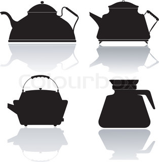 Set of vector silhouettes of teapots