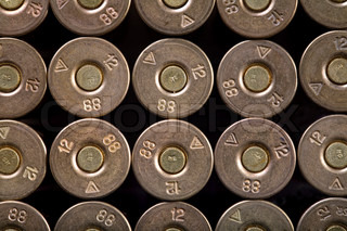 rows of bullets, 12-th caliber