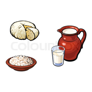 Vector Sketch Milk Grlass Jug Cottage Cheese Set