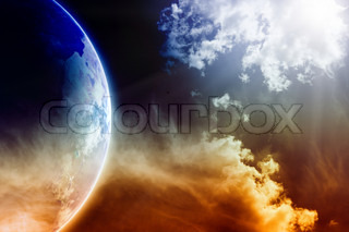 Apocalyptic background - dark dramatic space, white clouds, planet Earth, global warming, global warming effect, stop global warming, countdown to Armageddon, mayan apocalypse 2012