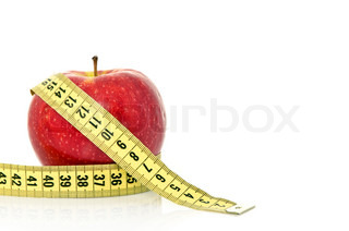 Red fresh apple with tape on white background health and diet concept