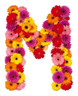 Letter M - blomst alfabet isoleret på hvid baggrund