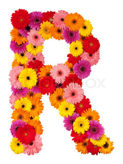 Bogstavet R - blomst alfabet isoleret på hvid baggrund