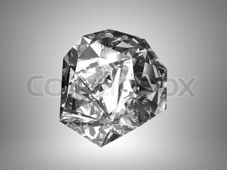 Beautiful diamond is isolated on a grey background