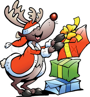 Hand-drawn Vector illustration of an Reindeer with Christmas gifts