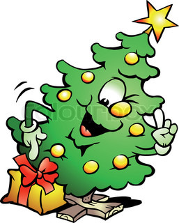Hand-drawn Vector Illustration eines Pointing Christmas Tree