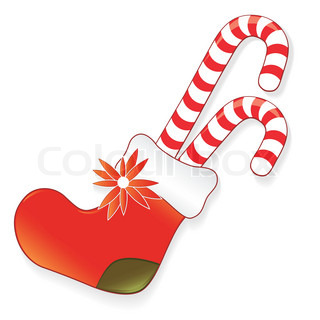 Icon christmas sock for present, creative cartoon candy vector illustration Element for design