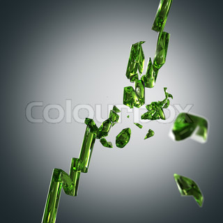 Green glass growing economy graph broken into pieces