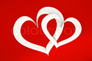 a two white hearts on red