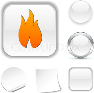 Fire white icon Vector illustration