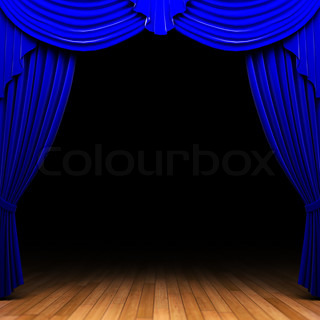 Curtains Ideas blue stage curtains : Blue stage light behind curtain | Stock Photo | Colourbox