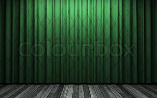 green velvet curtain opening scene made in 3d