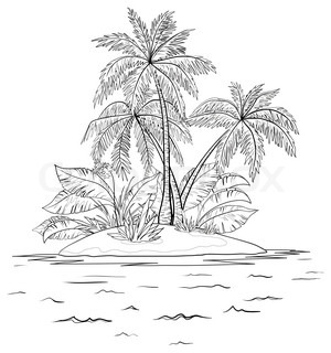 Tropical sea island with palm trees, contours