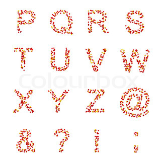 P-Z letters and symbols made of candies or pills isolated on white